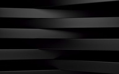 Abstract black panels with copyspace for text. 3D render