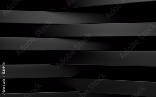 Abstract black panels with copyspace for text. 3D render - 145205448