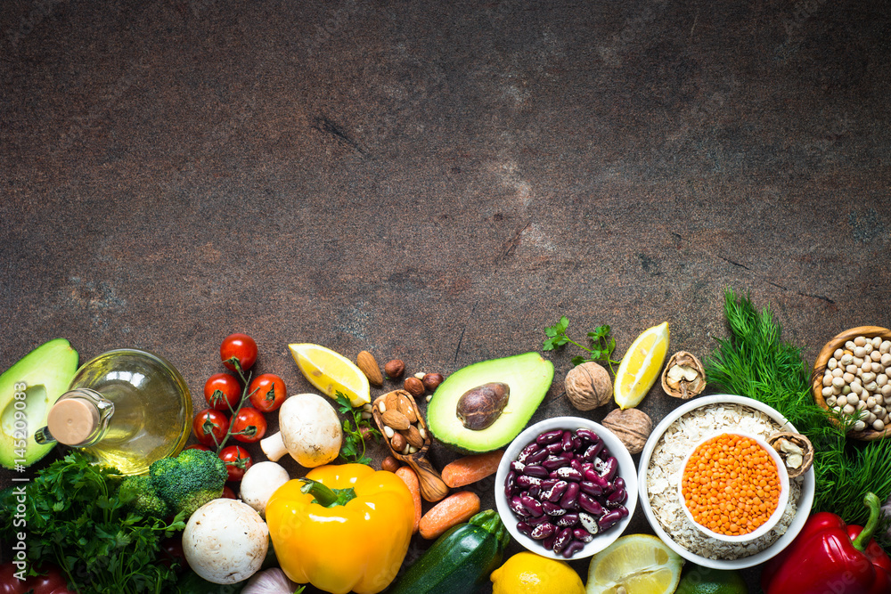 Fototapety, obrazy: Balanced diet. Organic vegan food for healthy nutrition. Top view