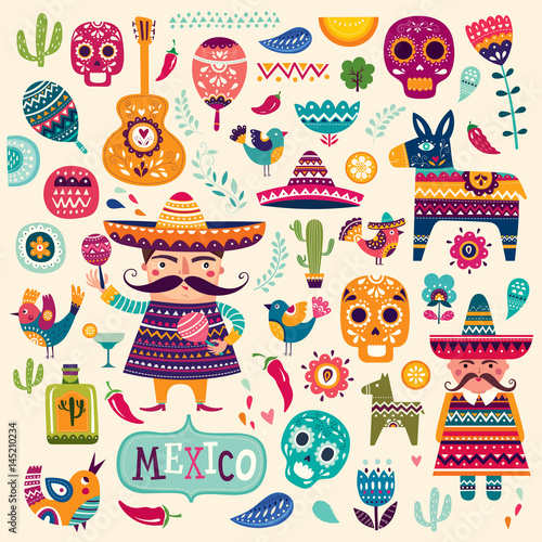 Pattern with symbols of Mexico Poster Mural XXL
