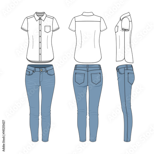Female Clothing Set Of White Shirt And Blue Jeans Vector Templates In Front Back Side Views For Fashion Design Isolated On White Background Buy This Stock Vector And Explore Similar Vectors