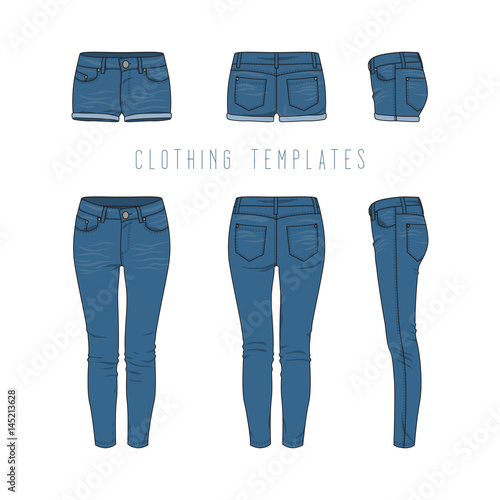 Female Clothing Set Of Blue Jeans And Denim Shorts Vector Templates In Front Back Side Views For Fashion Design In Urban Style Isolated On White Background Buy This Stock Vector And