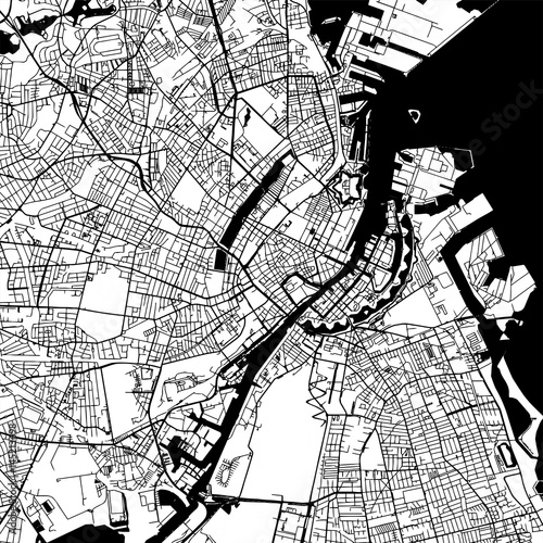 Fotografie, Tablou Copenhagen Denmark Vector Map