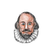 William Shakespeare Head Watercolor