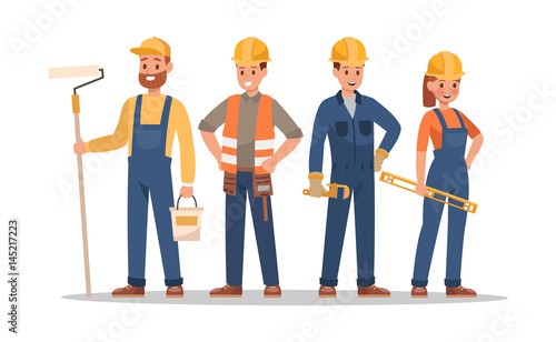 Construction staff characters design. Include foreman, painter, electrician, landscaper, carpenter. Professionals team.