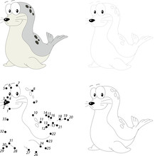 Cartoon Fur Seal. Dot To Dot G...