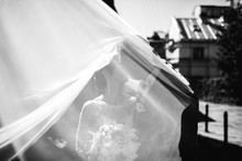 Wind Blows Veil Hiding Kissing Wedding Couple