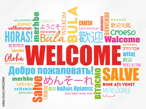 WELCOME word cloud in different languages, conceptual background Canvas-taulu