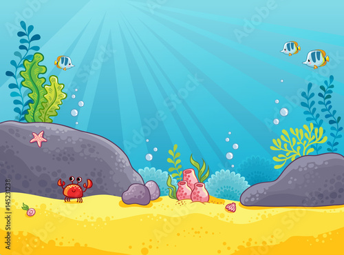 Photo Stands Turquoise Marine background. Vector illustration of the underwater world. The picture in the style of childrens cartoon.