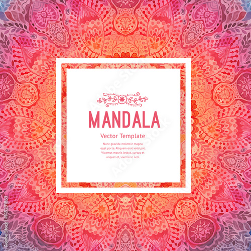 Photo  Watercolor mandala, square background