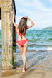 Brunette woman standing near pier column. Beautiful young attractive girl in red bikini looking at the sea. Back view