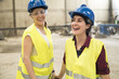 Female skilled workers in concrete factory