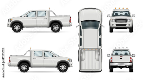 Obraz Pickup truck vector template isolated car on white background. All layers and groups well organized for easy editing and recolor. View from side front back top. - fototapety do salonu