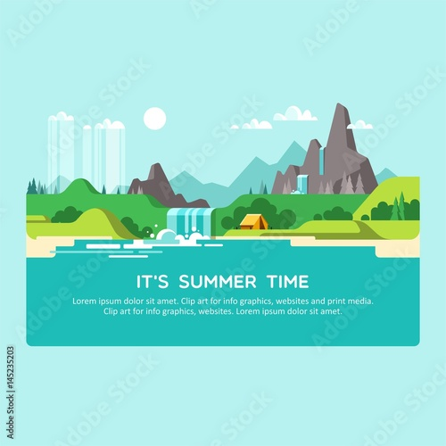 Foto op Canvas Lichtblauw Natural landscape with hills, mountains and waterfall. Summer time. Vector illustration.