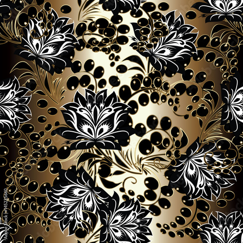 Floral Seamless Pattern Gold Background Wallpaper Illustration With Black White Vintage Line Art Russian Ornament