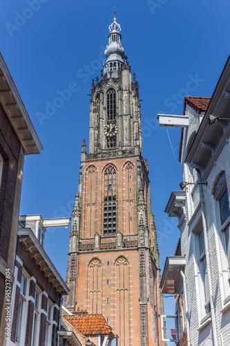 Medieval church tower Onze Lieve Vrouwetoren Canvas Print