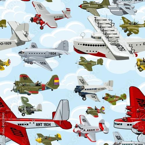 kreskowka-retro-samolotow-1930s-bezszwowy-wzor-na-chmury-tle
