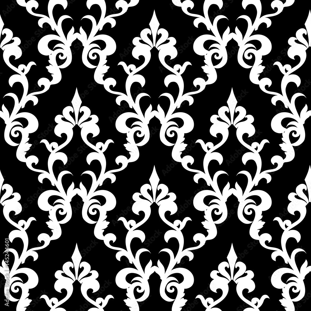 Damask seamless pattern. Floral black background wallpaper with vintage white  flowers, swirl scroll leaves and antique ornaments in Baroque style. Vector isolated texture for fabric, prints, textile.
