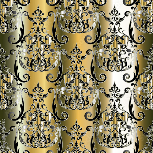 Damask Floral Seamless Pattern Background Wallpaper Illustration With Vintage 3d Flowers Swirl Scroll Leaves And