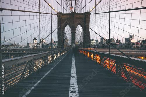 Foto-Kassettenrollo premium - Traffic on Brooklyn Bridge - New York