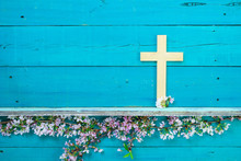 Wooden Cross With Spring Floral Border