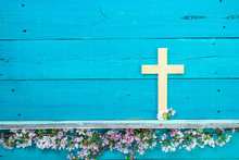 Wood Cross With Flower Border