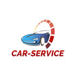 Vector logo template for car service and repair, car wash or site auto sales. Car and sign speedometer.