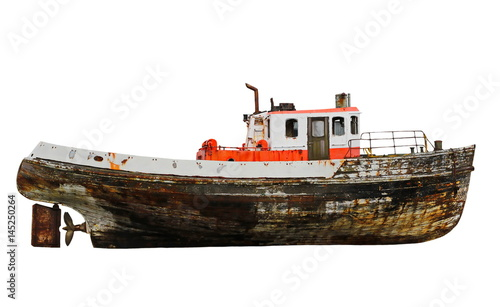 Türaufkleber Schiff old wooden fishing boat isolated on white background, with clipping path