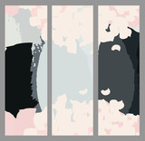 Set of creative abstract vector art bookmarks. Hand drawn textures.