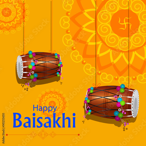Valokuva  Celebration of Punjabi festival Baisakhi background