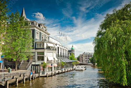 One of canals in Amsterdam Canvas Print