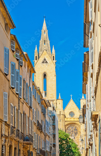 Typical narrow street in Aix en Provence, France Wallpaper Mural
