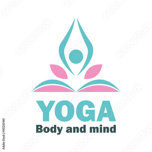 yoga body and mind meditation logo with text space for your slogan