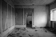 Interior Of Abandoned Restaurant. Black And White Tone