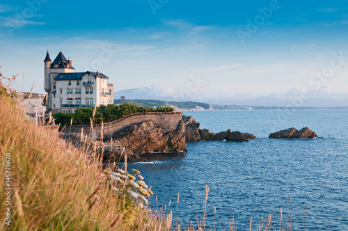 Elegant old house on the cliff in Biarritz, France Canvas Print