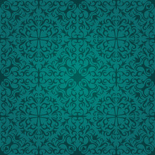 Seamless Dark Turquoise Abstract Pattern With Gradient. Vector Illustration