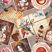 Seamless Pattern With Vintage Things. Vintage Photos, Envelope, Feather, Cookies, Tea Cup, Rose. Vintage Background