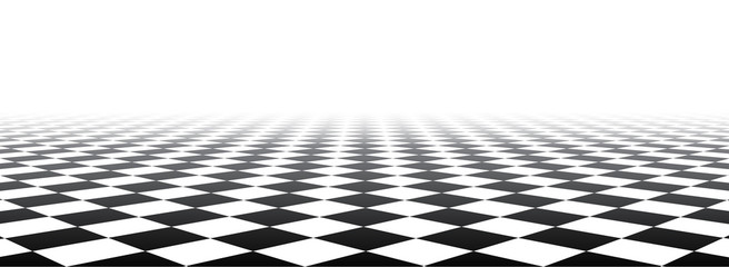 Black and white perspective checkered banner.