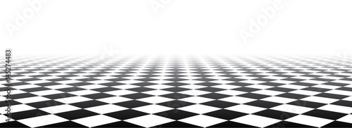 Obraz na plátně Black and white perspective checkered banner.
