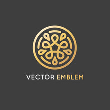 Vector Logo Design Template Made With Infinite Lines - Golden Luxury Beauty Spa Concept