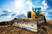 Yellow Excavator On New Constr...