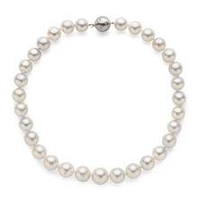 Round Graduated Luster Pearl Necklace With Diamond White Gold Ball Clasp - White South Sea - Top View On White Background