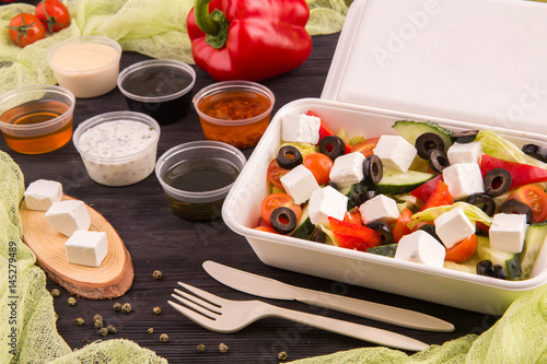 Aluminium Prints Greek olives, cheese salad feta, sweet pepper and cherry tomatoes