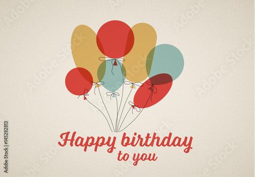 Minimalist Balloons Happy Birthday Card 2