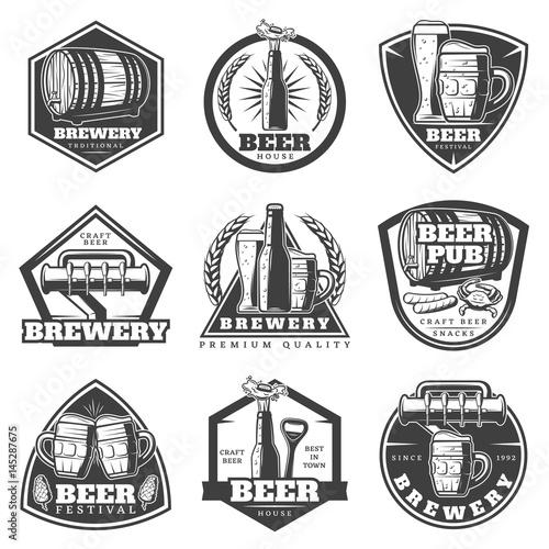 Fényképezés Monochrome Vintage Brewery Labels Set