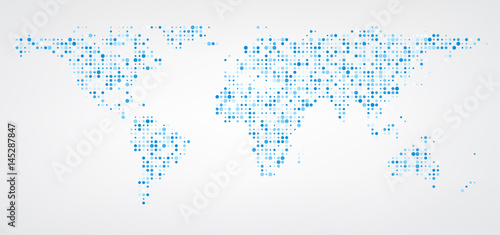 World map of blue dots background.