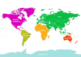 Seven continents World map. Vector illustration, isolated