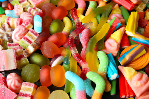 Aluminium Prints Candy Colorful jelly candies, closeup