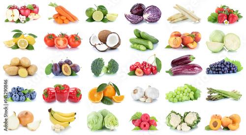 Foto op Aluminium Vruchten Obst und Gemüse Früchte Sammlung Äpfel, Orangen Trauben Bananen Essen Freisteller