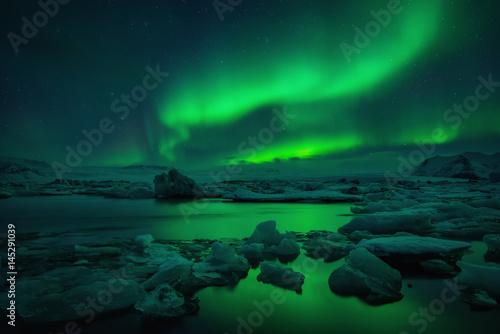 Foto auf Leinwand Nordlicht Jokulsarlon aurora